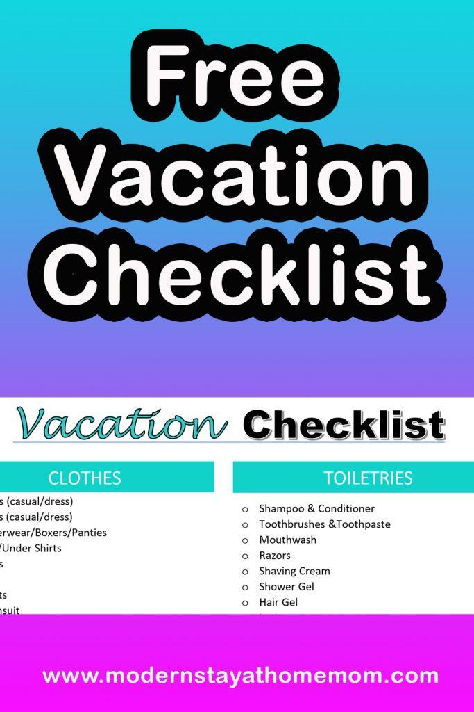 Free Vacation Checklist